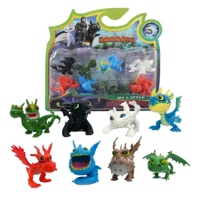 Como Treinar O Seu Dragão 3 8 pcs Dragão Decoração Boneca de Brinquedo Conjunto de Tormenta Fúria desdentado Fúria Da Noite luz crianças presentes