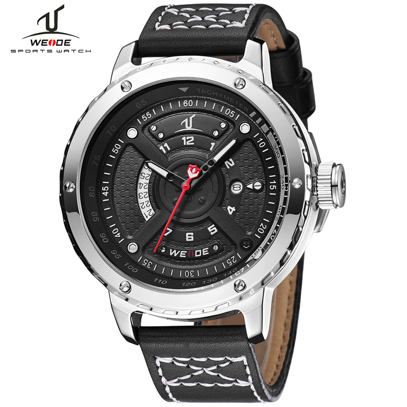 купить 2018 WEIDE Brand Men's Fashion Casual Sport Watches Men Waterproof Leather Quartz Watch Man military Clock Relogio Masculino по цене 3352.28 рублей