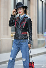 2017 Casual Womens Sheep Leather Slimming Coats Real Leather Short Jackets Black Leather Streetwear Turn-down Collar LX00879