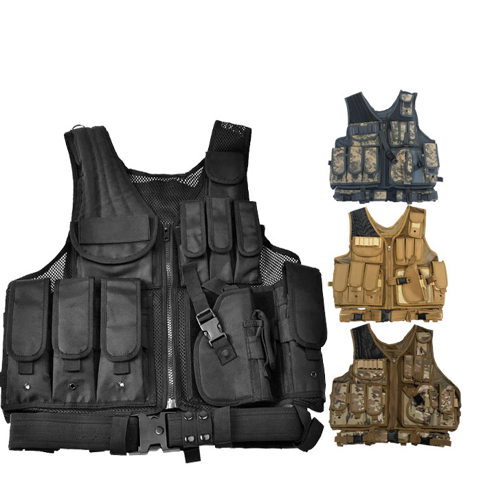 Tactical Military Swat Mesh Adjustable Molle Combat Vest W/ Pistol Holster