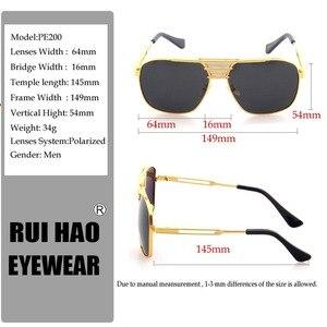 Image 5 - Óculos de sol polarizados homens duplo feixe retro design condução óculos de sol homem piloto óculos de sol anti uv lentes de sol hombre pe200