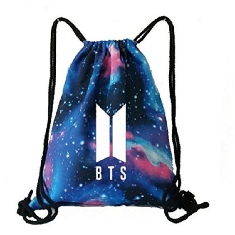 KPOP BTS Bangtan Galaxy Traveling Drawstring Backpack BAG Sport Starry Logo  Shoulder Boy Army Bags-in Backpacks from Luggage & Bags on Aliexpress.com  ...