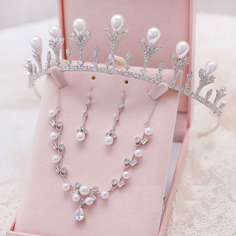 Zirconia Crystal Pearl Brides Wedding Jewelry Set Silver Shinning Necklace & Long Tassel Earrings Bridesmaid Hair Accessories