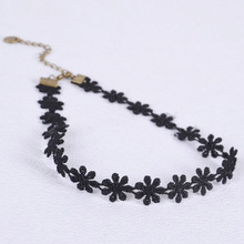 Lace Necklace Charm Daisy Flower Choker Chain Bib Collar Statement Black EE1