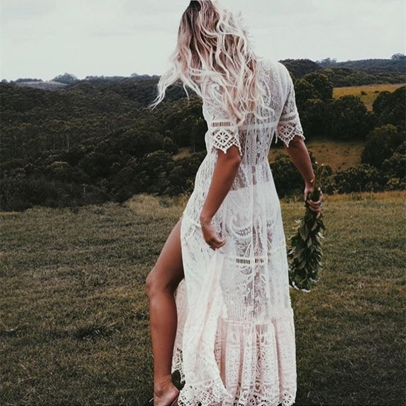 Women Off White Lace Maxi Dress Floral Embroidery Short Sleeve Dark V Neckline Hollow Out Summer Holiday Long Dresses