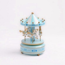 Adeeing Wooden Rotation Carousel Wooden Carousel With LED Lamp Lighted  Carousel Musical Box Birthday/Festival
