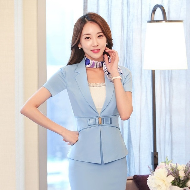 Fashion Ladies Sky blue Blazer Women Summer Jackets Short Sleeve Professional Business Work Wear Clothes Office Uniforms Style