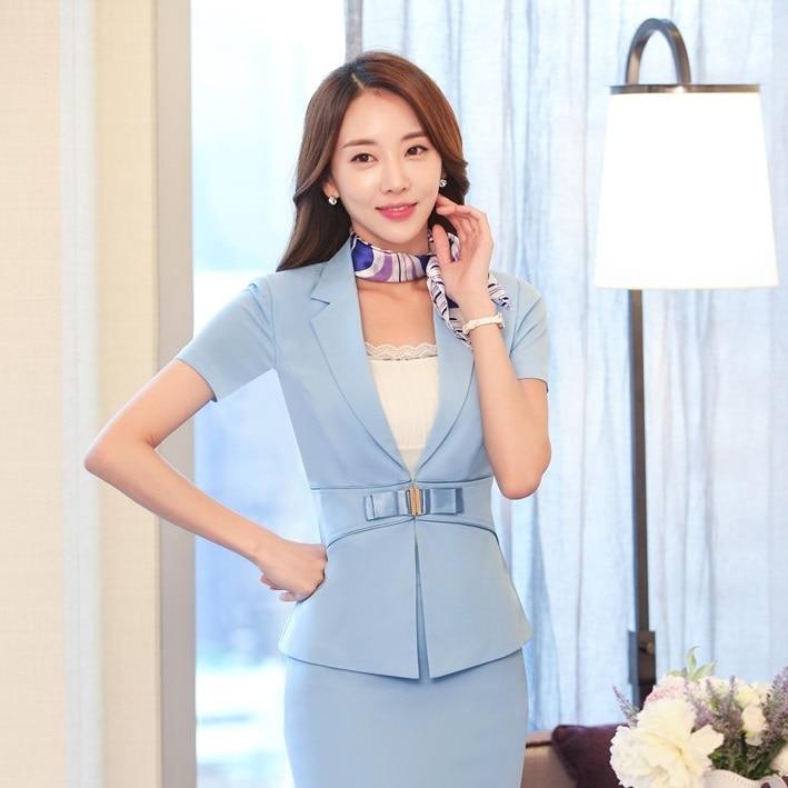 Fashion Ladies Sky blue Blazer Women Summer Jackets Short Sleeve Professional Business Work Wear Clothes Office Uniforms Style