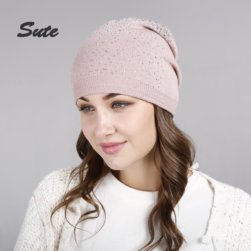 SUTE women winter beanie hat Rabbit fur wool knitted hat the female of the mink pom pom Shining Rhinestone hats for women M-329 women s winter beanie hat wool knitted cap shining rhinestone beanie mink fur pompom hats for women