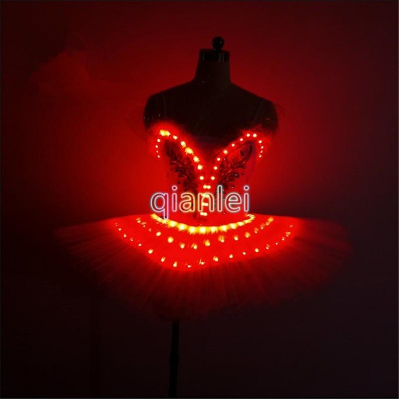 QZ02 Full color led light dance costumes ballroom singer led dresses luminous colorful stage wears ballet skirt model clothes dj