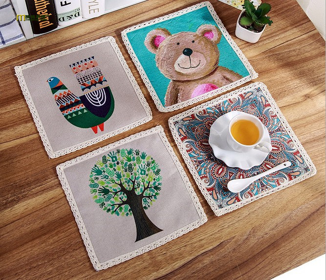 4pcs/lot Printed Western Pad Cotton Linen Hand Painted Placemat Dining Table  Insulation Mat Coaster