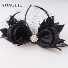 17 colors glamorous sinamay veils fascinator feather decoration chic hair accessories birthday headpiece cocktail hat FNR151249