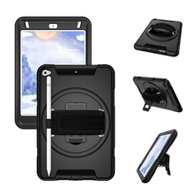 For iPad Mini 5 / 4 Case with Pencil Holder PC and TPU Back Cover with 360 Degree Rotation Hand Strap and Stand-Miesherk Black m07 360 degree rotation bracket w c61 back clamp for samsung i9200 ipad mini black