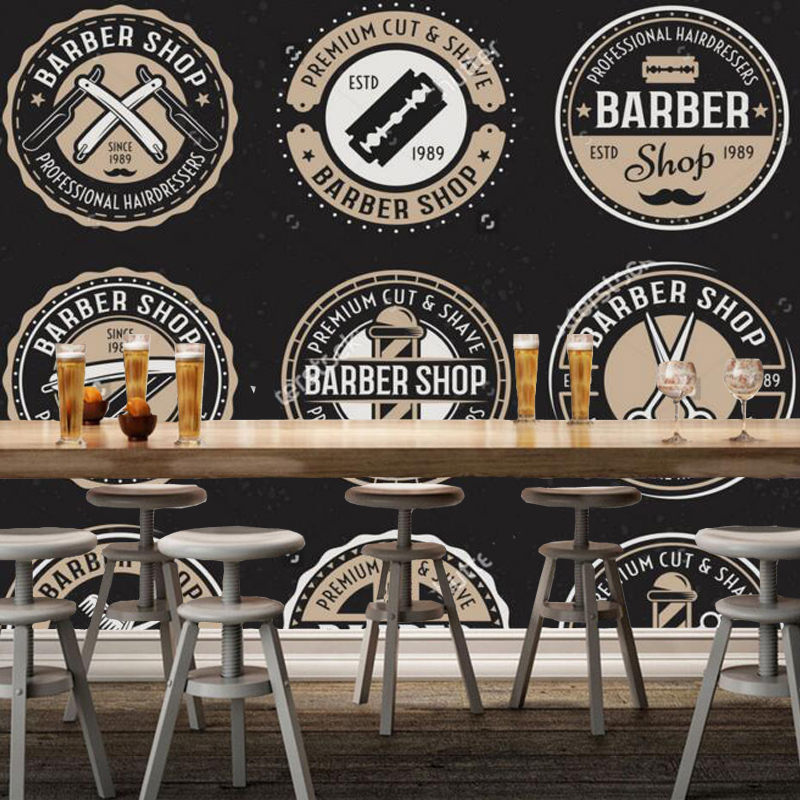 3D modern wallpaper, barber shop round badge mural for barber shop sofa living room wall wallpaper PVC papel de parede battlefield 3 или modern warfare 3 что