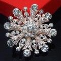 Розничная горячая распродажа дешевые хрустальный цветок брошь фантазии розовое золото тон платье невесты большой снежинка брошь пен розничной брошь