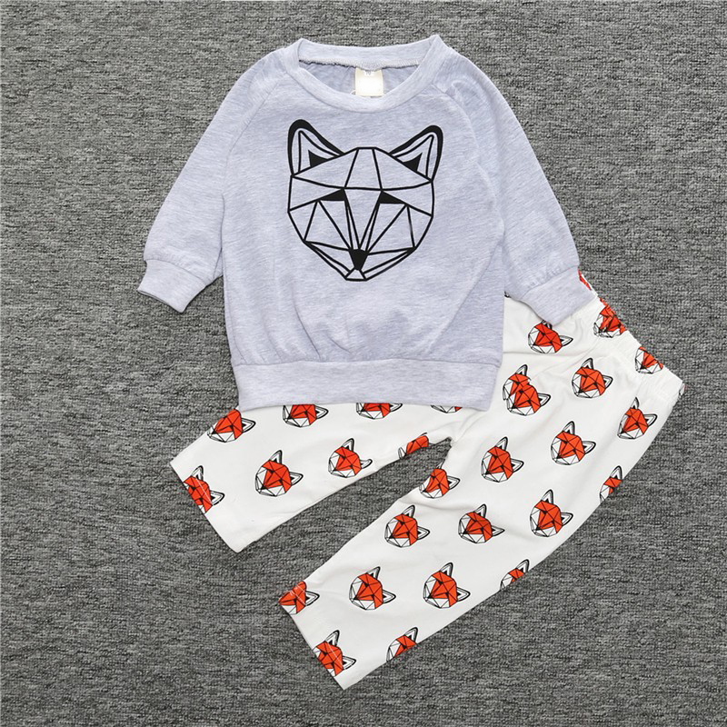 Autumn Baby Clothes Cartoon Fox Print Cotton Unisex Baby Girls Boys Clothes T-Shirt & Pants 2pcs/set for Newborn bebes Spring