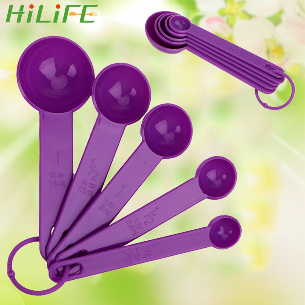 HILIFE For Baking Coffee Tea Baking Tool 5pcs/Set Plastic Measuring Spoon Kichen Accessories Measure Tool