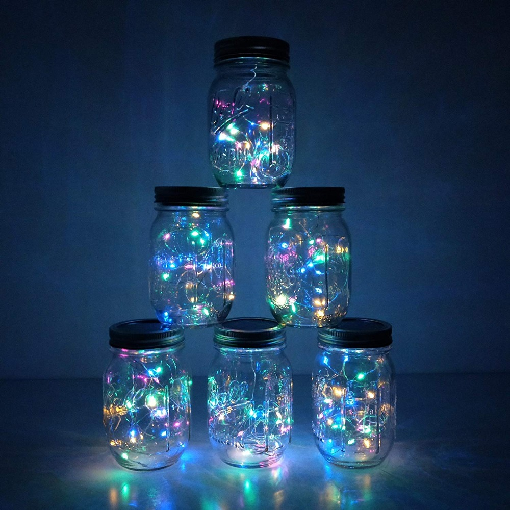 6 Pack Mason Jar 20 LED Solar Colorful Fairy String Lights Lids Insert For Patio Yard