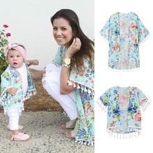 Одежда для девочек, рубашка для мамы и меня, кимоно в стиле бохо, большой кардиган, семейная пляжная одежда с кисточками, платье для мамы и ребенка, одежда