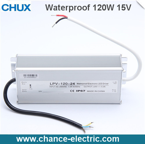 LED Water-Proof Type driver switching mode Power Supply SMPS 120w 15V (LPV-120W-15V) 120w 55 led blue