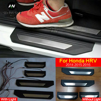 For Honda HRV HR V Vezel 2014 2015 2016 Stainless Steel With Light Door Sill Scuff Plate Guards Thresholds Cover Trims Auto Part