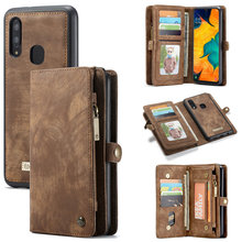 CaseMe Original Wallet Case For Samsung Galaxy A80 A20e A30 A40 A50 A70 Luxury 2 in 1 Detachable Leather Case For Samsung S10 5G