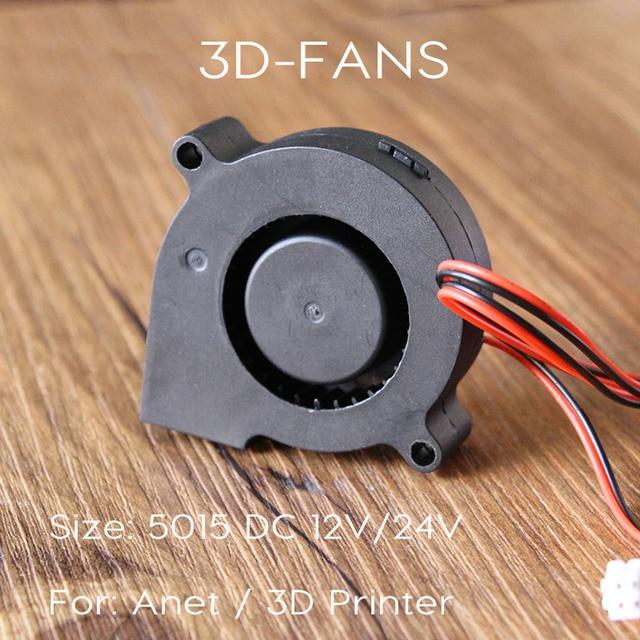 Anet A8 A6 5015 เครื่องเป่าลม 12 โวลต์ 24 โวลต์ Ultra - quiet แบริ่งน้ำมันประมาณ 7500 รอบต่อนาที Turbo ขนาดเล็กพัดลมสำหรับ 3D เครื่องพิมพ์