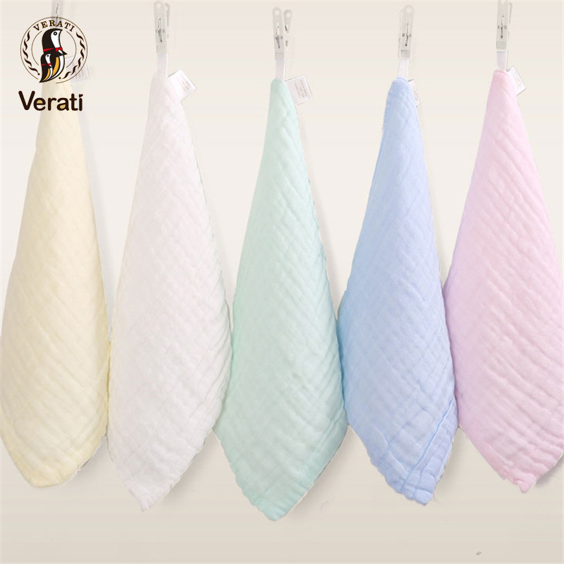 VERATI 2pcs Cotton Gauze Baby Face Hand Bathing Towel Soft Feeding Saliva Square Towels For Newborns Unisex Baby Bandana V024