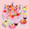 DIY Fruitcake 81pcs/set Cookware Set Fruit Birthday Cake Children Pretend Play Toys Kitchen Set Kids Toy Educational Assemblage