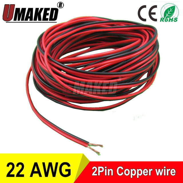 10m) 2pin 22AWG Copper wire, Red Black cable,g w PVC insulated wire ...