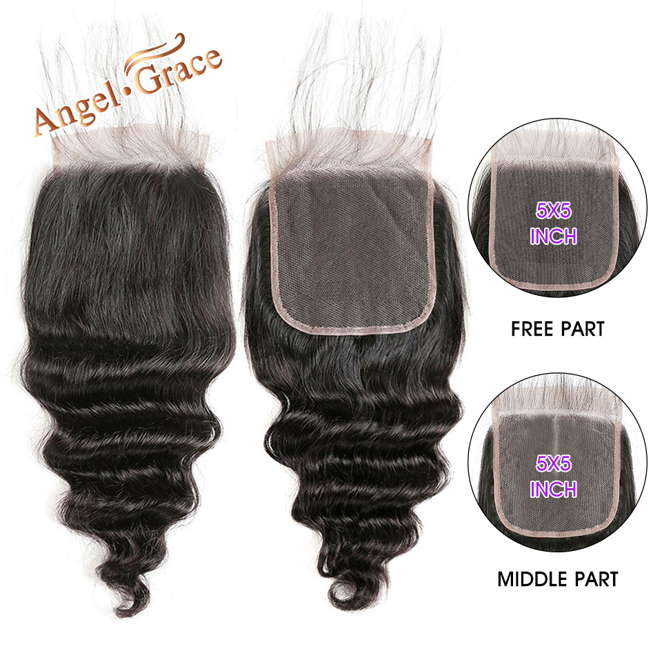Angel Grace Hair Brazilian Loose Deep Wave Hair Closure 5x5 Free Middle Part Lace Closure Natural