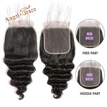 Anioł Grace włosy brazylijski luźne włosy mocno falowane w stylu brazylijskim zamknięcie 5 #215 5 bezpłatne środkowe częściowo koronka zamknięcie naturalny kolor Remy uzupełnienie splotu ludzkich włosów tanie tanio 1 sztuka tylko Brazylijski włosy Luźne głębokie Remy włosy Pure color Swiss koronki Średni brąz 5 x 5 130 Ręka wiążący