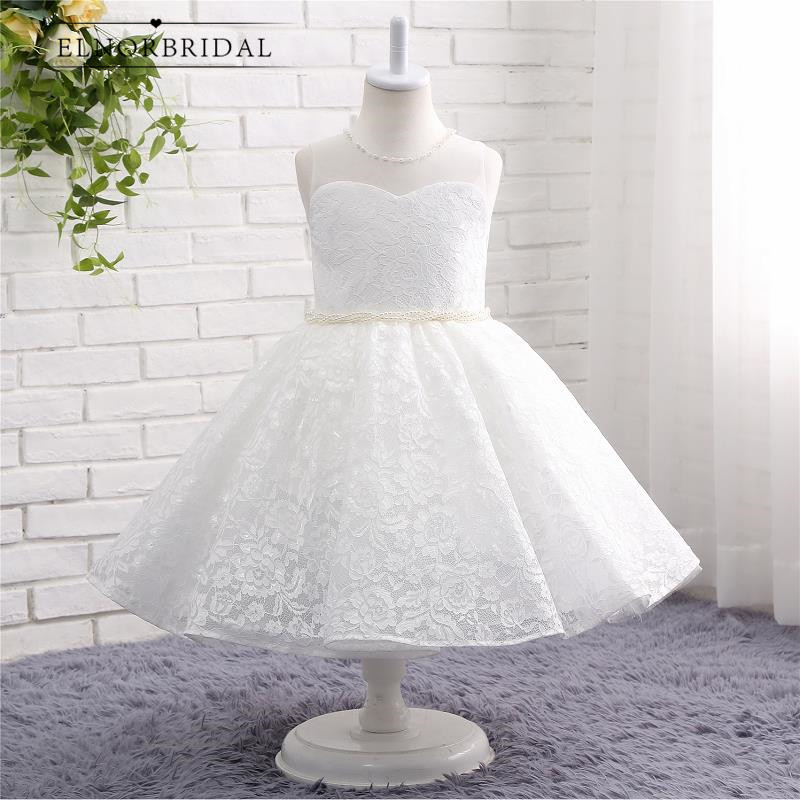 Elegant Lace   Flower     Girls     Dresses   For Weddings 2019 Vestidos De Primera Comunion Sheer Cap Sleeve First Communion   Dress