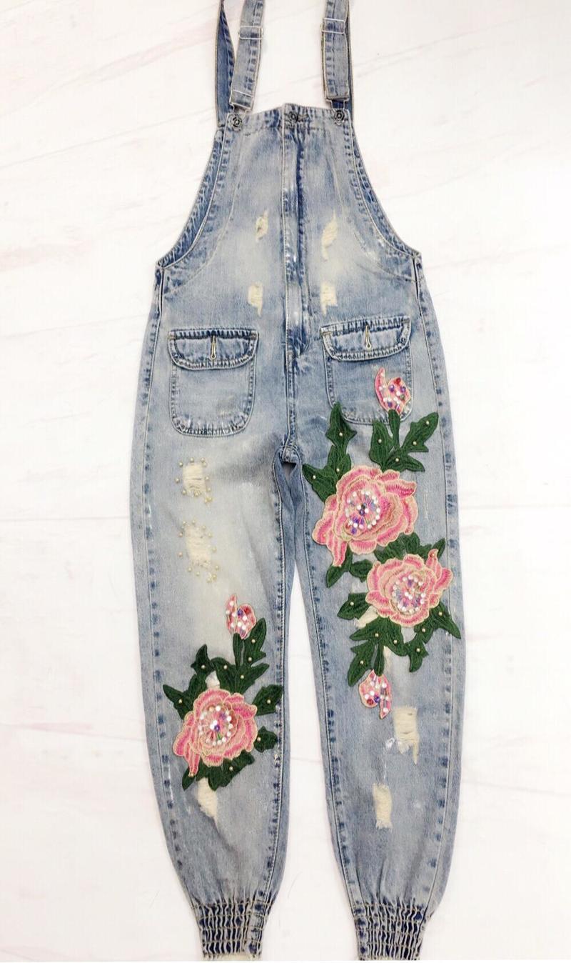 Befree Kol Saati Visavis 2018 Summer Women Fashion Bead Flower Vintage Hole Denim Jumpsuit Female Casual Overall Jeans Trousers