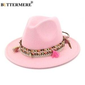 Image 3 - BUTTERMERE נשים פדורה כובע צמר חאקי ג אז כובעי נקבה לאומי מזדמן גדול אפס מקום בציר סתיו קלאסי הרגיש כובע וכובע 2020