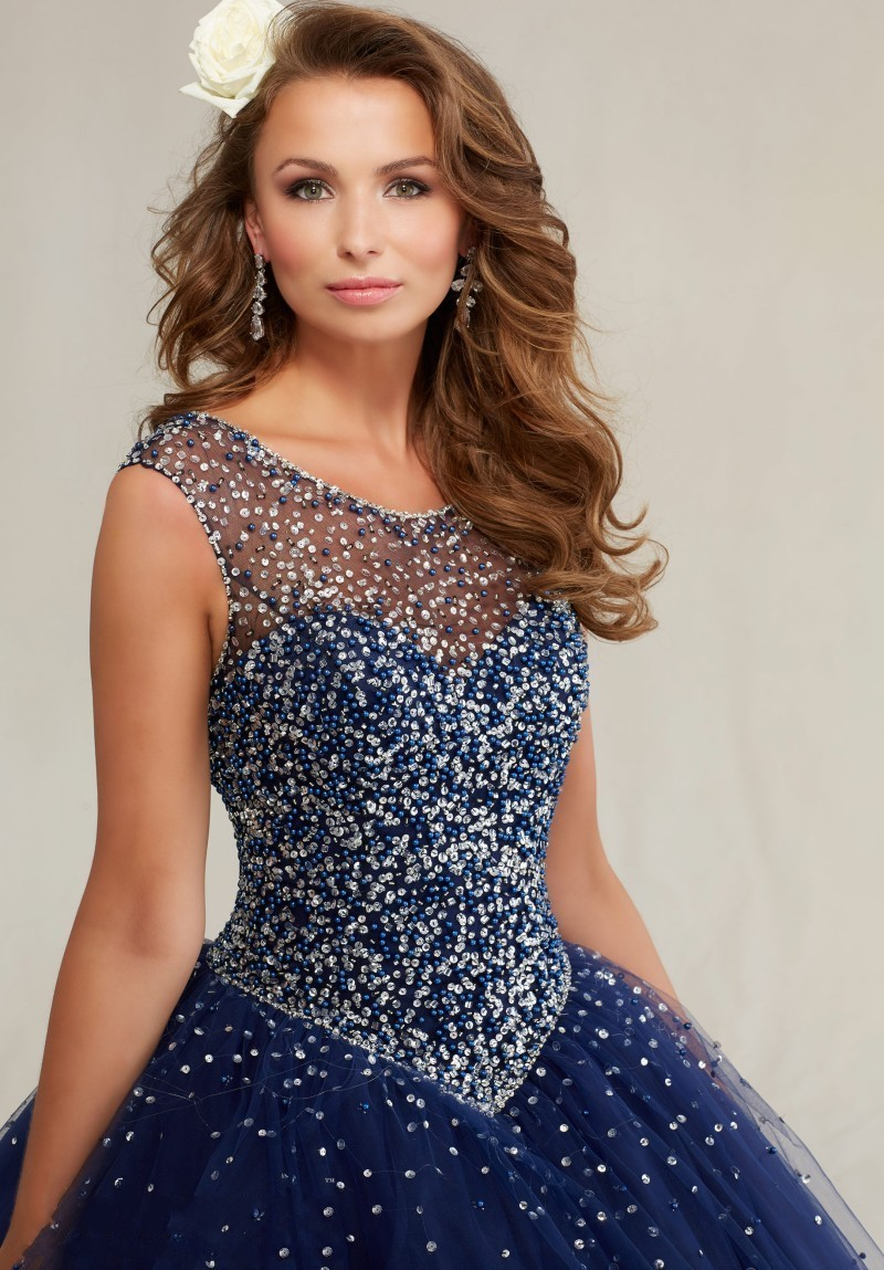 US $149.0 |2017 Plus Size Masquerade Ball Gowns Puffy Sweet 16 Navy Blue  Quinceanera Dresses Pearls Sparkly Luxury Crystals Backless-in Quinceanera  ...