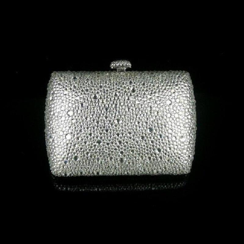 ФОТО 7759Z Silver Crystal Lady fashion Bridal wedding Metal Evening purse clutch bag case box handbag