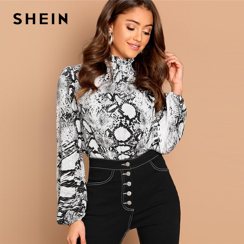 SHEIN Multicolor Mock-Neck Snake Skin Print Top Stand Collar Long Sleeve Button Frill Women Autumn Workwear Casual Blouses