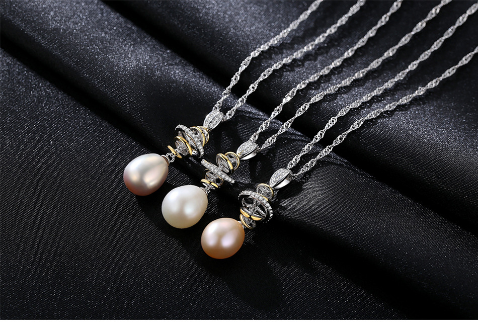 New S925 Sterling Silver Necklace Water Wave Chain Natural Freshwater Pearl Pendant Jewelry Accessories HS02