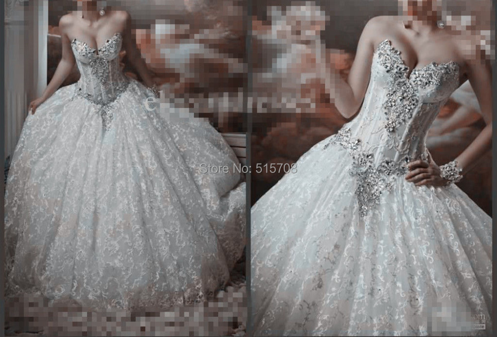 Ivory Ball Gown Wedding Dress: Sexy Sweeheart Ball Gown Crystal Wedding Dress Sleeveless