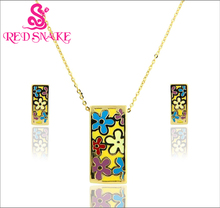 RED SNAKE manufacture high quality Geometric Fantasy Series golden earrings,necklace colorful enamel jewelry set