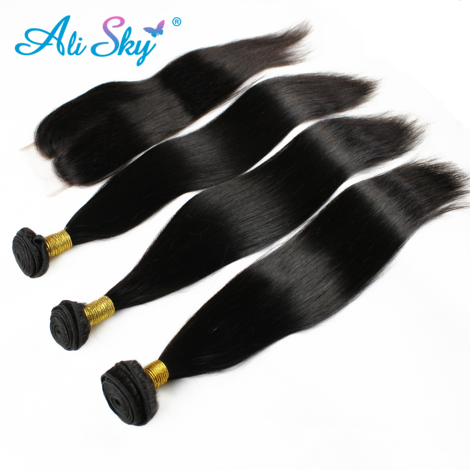 [Ali Sky]3 Bundles Straight Hair with Lace Closure Pre Plucked Brazilian Non Remy Free/Middle/Three Part 100% Black human hair