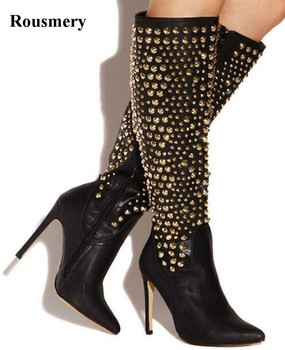 2018 New Fashion Women Pointed Toe Knee High Spike Design High Heel Boots Gold Rivet Long Leather Boots Dress Shoes