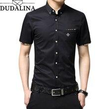 Dudalina, мужская рубашка, мужские повседневные рубашки, хлопок, короткий рукав, облегающая, платье, рубашка размера плюс, одежда для бизнеса