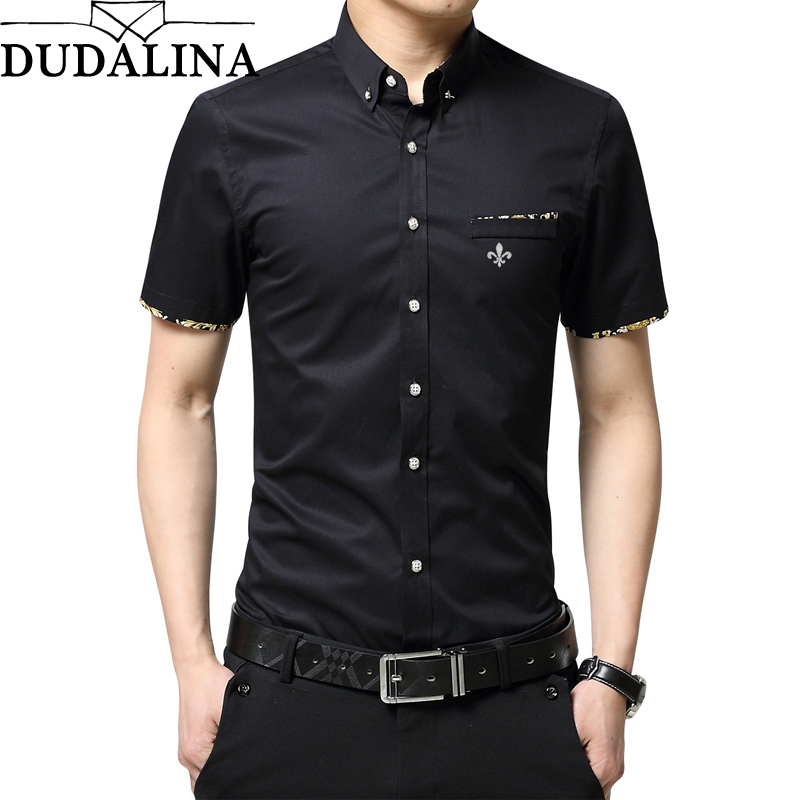 Dudalina 2019 Shirt Male Men Casual Shirts Cotton Short Sleeve Slim Fit Dress Shirt Plus Size Clothing Business Clothes