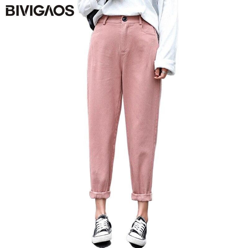 BIVIGAOS 2019 Spring New Womens Cotton Harem Pants Overalls Button Korean Hiphop Loose Casual Cargo Pants Vintage Radish Pants