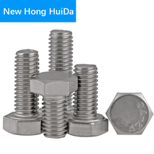 M8 DIN933 Hex Flat Head Bolts Thread Metric Hexagon Screws Electrical Machine Equipment Wheel Construction 304 Stainless Steel