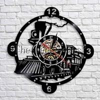 증기 기관차 기차 벽 시계 빈티지 증기 엔진 비닐 레코드 벽 시계 기차 기관차 벽 장식 현대 디자인