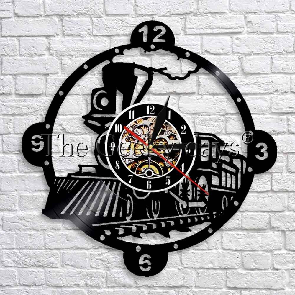 Buy 1 pieza vapor locomotora tren pared vintage vapor registro de vinilo reloj de pared - Decoracion relojes de pared ...