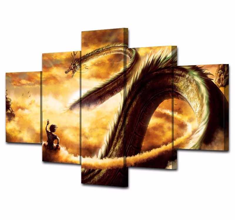 No Framed 5 Piece Canvas Art Dragon Ball Cuadros Decoracion Paintings on Canvas Wall Art for Home Decorations Wall Decor